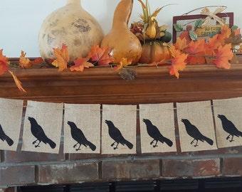 Crow Banner, Crow Halloween Banner, Halloween Burlap Banner, Black Crow Halloween Burlap Banner, BSC-036