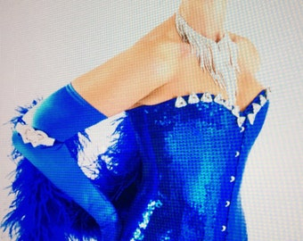 "Blue ""Bling Bling"" corset Las Vegas Showgirl piece by Gillian for Show Off Las Vegas"