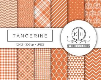 Tangerine Digital Paper, Tangerine Scrapbooking Paper, Orange Plaid Background, Orange Digital Paper, Orange Scrapbooking Paper, Orange