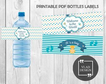 2 Designs Baby Shower DIY Printable Water Bottle Labels Baby's Party Water Bottle Labels Ready to print PDF It's a boy design
