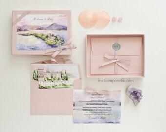 Wedding Invitation in Box, Luxury Italy Pink Watercolor Wax Seal