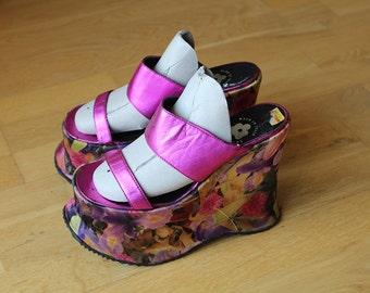VINTAGE Pink Flower platform sandal 37