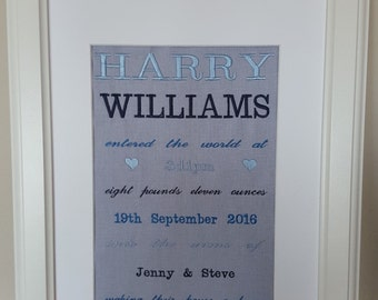 Personalised Embroidered Birth Annoucement Boy