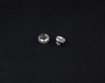 10mm Round Silver Crystal Button with Shank 12Pcs