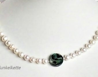 Bridal jewelry Pearl Necklace for a bride Paua Shell Pearl blue green Freshwater Pearl Pearl Jewelry pearls Bridal jewelry White Pearl wedding