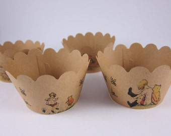 Winnie-the-Pooh cupcake wrappers , Birthday cupcake wrappers,Winnie-the-Pooh theme , Birthday cupcake wrapper, Baby Shower theme