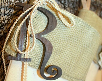 """wood stocking customizer initial 4"""" curlz font wooden letter, dark brown with woven trim bow, shabby chic ornament, nametag, customize"""