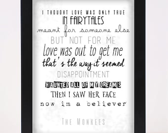 The Monkees - I'm a Believer Pop and Indie Prints Typography Poster Print