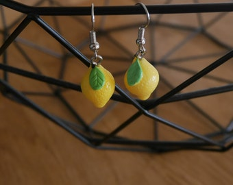 Earrings lemon yellow - Lemon earrings