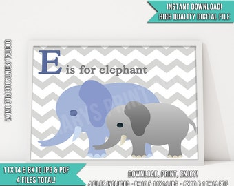 Nursery Decor. E is for elephant. Printable Nursery Sign. Instant Download! 8x10 & 11x14 JPG and PDF - Chevron Print. Chevron Nursery