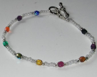 Multi-color beaded bracelet, different color crystal beads