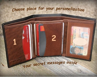 Personalized Mens Wallet - Father Gift - Gift for Man 9th Anniversary - Gift for Groom from Bride - Leather Wallet -RFID Wallet Black/Toffee