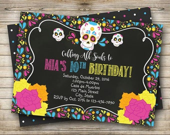 Day of the Dead, Halloween, Dia de los Muertos Invitation. Digital File
