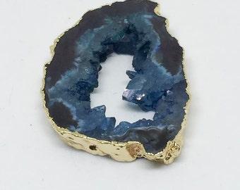 Blue Druzy Slice Pendant