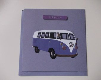 Handmade Birthday Card (1 Card) - Purple Split Screen Camper Van