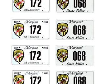 scale model Maryland State Police car license tag plates