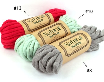 Super Bulky Yarn, Super Chunky Yarn, Hand Spun Yarn, Austrailian Pure Wool 100%, 13 Colors, 8.8oz (250g)