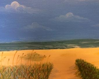 Beach Ocean Sand Shore Summer Beach Grass Original Acrylic Painting