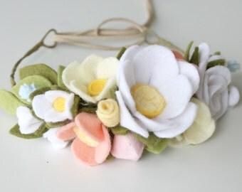 Felt Flower Wreath for Hair - Felt Flower Headband - Baby Crown