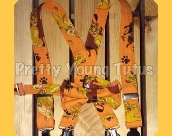 Lion king suspender bow tie set