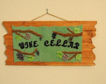 "Fused glass wall hanging ""Wine Cellar"""