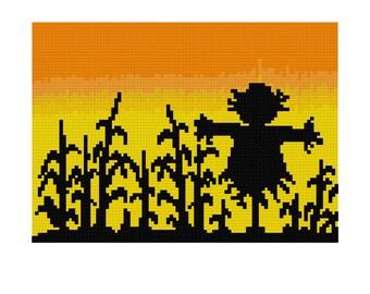 Harvest Scarecrow Cross Stitch Pattern - PDF Digital Download