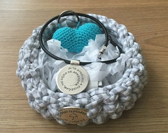 Personalized teacher basket,  zamak pendant teacher, handmade blue heart
