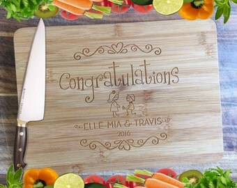 Congratulations Engagement Board - Personalised Engraved Bamboo Chopping Board