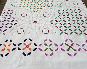 Handmade Indian Cutwork Bedspread – White Jewel – QUEEN/KING