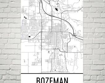 Bozeman Map, Bozeman MT, Art, Bozeman Print, Bozeman MT Poster, Bozeman Wall Art, Bozeman Gift, Map of Bozeman, Bozeman Decor, Modern Map