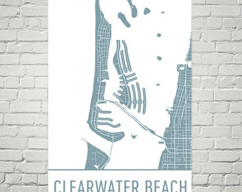 Clearwater Map, Clearwater Art, Clearwater Print, Clearwater FL Poster, Clearwater Wall Art, Clearwater Gift, Map of Clearwater, Decor, Art