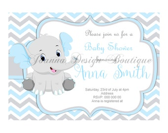 Blue Elephant baby shower invitations,blue and grey elephant baby shower invitation,elephant baby shower invitation,elephant baby shower,(8)