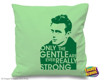 """James Dean inspired -  Pillow Cushion Cover - Iconic 50's Actor with quote  - """"Only the Gentle are ever Really Strong, Great Xmas Gift Idea"""