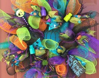 Teal Pumpkin Deco Mesh Wreath, Halloween Deco Mesh Wreath for Food Allergies with Purple Deco Tubing