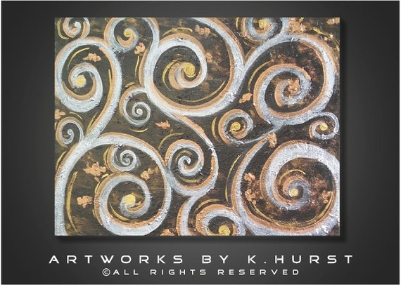 Modern Original black silver gold metallic abstract swirls painting