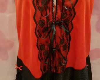 Red and black playsuit with front ties