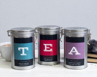 Personalised Initial Tea Gift Tin - Tea Lovers Gift - Christmas Tea Gift