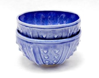 Blue porcelain bowls - set of 2 sea urchin ceramic pottery handmade bowls