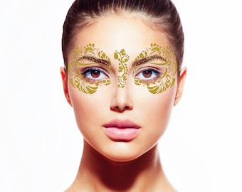 Gold Flake Temporary Tattoo Face Mask