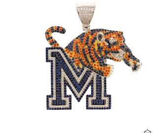 Memphis Tigers Sterling Silver CZ Pendant