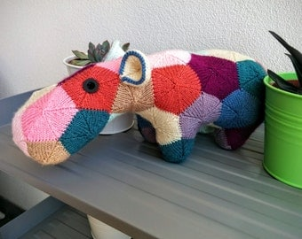Large Patches the Knitted Hippo