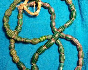 Old Watermelon Chevron Trade Beads