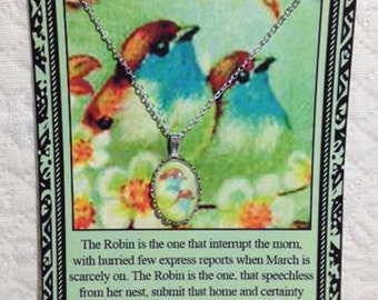 Robins Charm Necklace on Poem Card