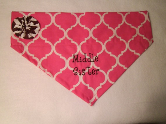Middle Sister, Personalized, Monogram,  Embroidery,  Dog Bandana,  Over the Collar, New Baby, Baby Annoucement