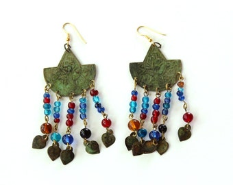 vintage moroccan style beaded dangle earrings with green patina