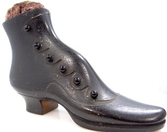 Large Victorian Carved Wood High Top Shoe Pin Cushion