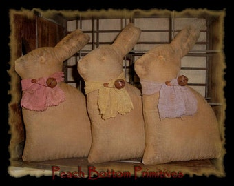 MAILED PAPER PATTERN~Primitive Easter Bunny Bowl Fillers, Tucks