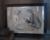 """Vintage Framed 1906 Pen & Ink Drawing """"Serious Business - A Young Lawyer Arguing His First Important Case"""" by C. L. Mauritzius"""
