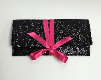 Black sequin clutch with hot pink bow // More colors available