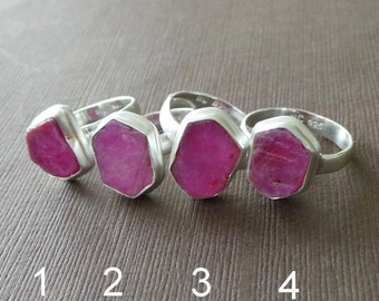 Raw Ruby Ring Ruby Solitair Sterling Ring Stacking Ring Cocktail Ring Birthstone Ring